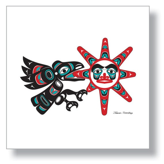 "Raven Stealing the Sun 12""X12"" Unframed Print by Tlingit Artist Israel Shotridge - Northwest Native American"