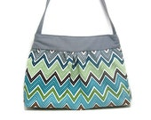 READY TO SHIP Blue grey Chevron shoulder sling hobo purse hand bag magnetic closure