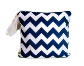 Navy blue white chevron wet bag swim suit pool beach bathing bag waterproof small cloth diaper baby summer personalized name