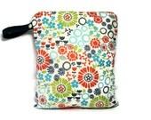 wet bag  waterproof cloth diaper, autumn floral zipper medium swim bathing suit pool beach girl