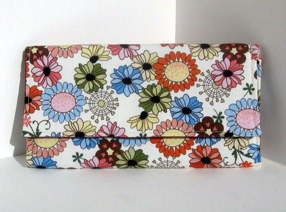 clutch wallet, flowers
