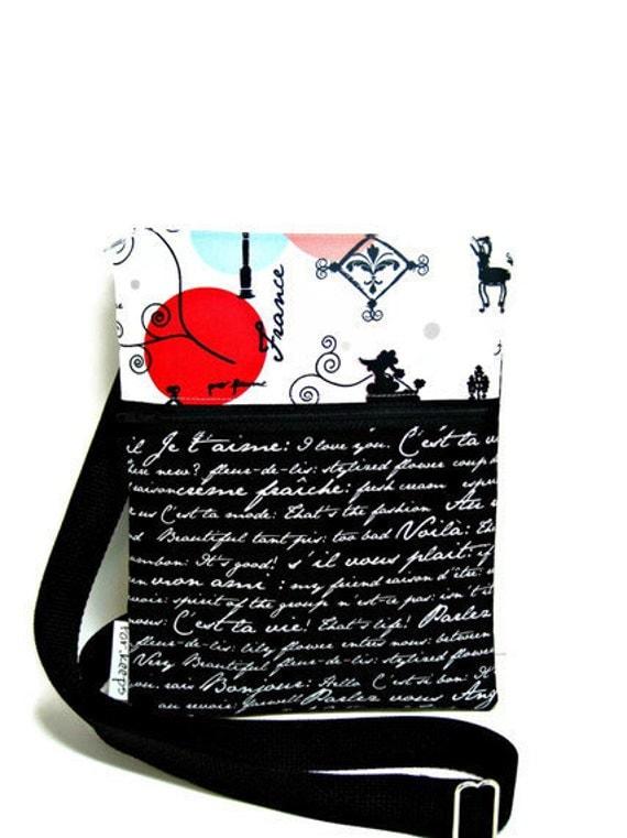 Cross body purse shoulder sling bag, paris, french, LAST ONE adjustable strap travel purse black white red