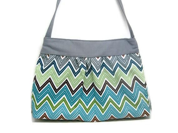 READY TO SHIP Blue grey Chevron shoulder sling hobo purse hand bag magnetic closure