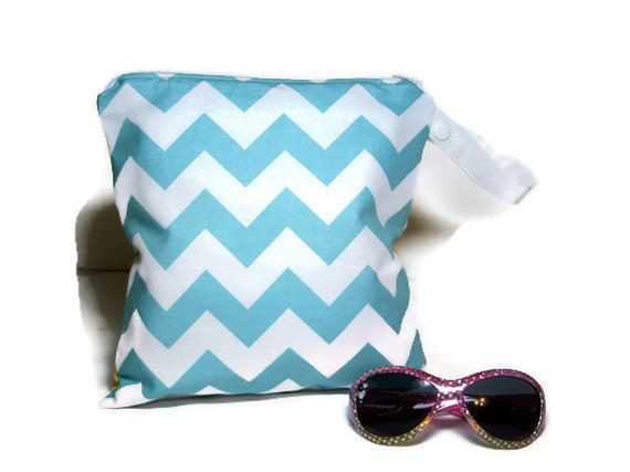 Blue  yellow chevron wet bag swim suit pool beach bathing summer bag waterproof small cloth diaper