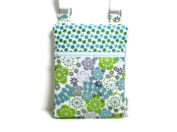 Blue green floral cross body shoulder sling adjustable strap travel wallet vacation hipster small purse with purple