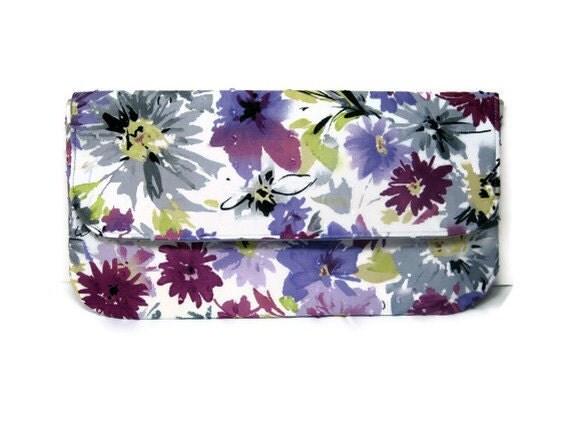 READY TO SHIP Purple grey floral clutch envelope summer wedding party simple purse bridesmaids vegan