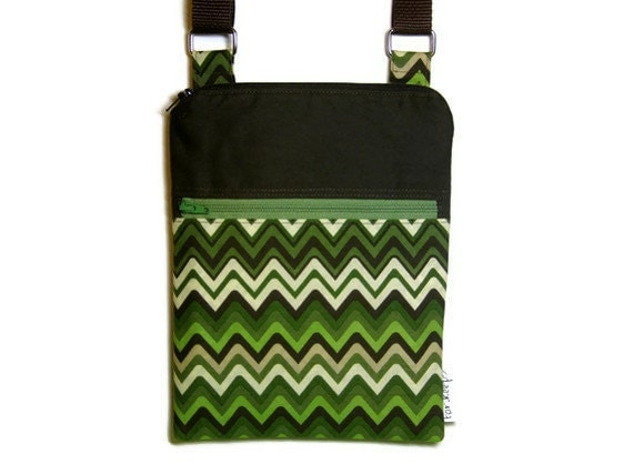 Cross body bag, green brown travel purse, sling purse