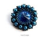 Brooch Beaded Swarovski Crystal Pearl Beaded Brooch Sapphire Blue Handbeaded Brooch