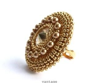 Ring Beaded Swarovski Cocktail Ring Gold Swarovski Crystal  Pearls Adjustable Ring Band THE Cocktail Ring