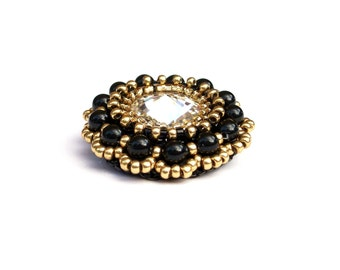 Brooch, Beaded Swarovski Crystal Black Pearl Beaded Brooch, Black & Gold, Handbeaded Statement Brooch