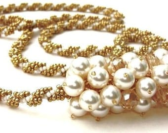 Necklace, Statement Swarovski Beaded Necklace, Gold Crystal and Cream Pearl, Handbeaded Pendant Necklace 'Lucky Charm'