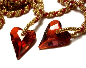 Necklace, Beaded, Swarovski Ruby Red Hearts with Gold Beads, Flapper Style Handbeaded Statement Necklace