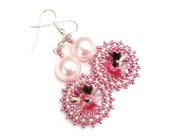 Earrings Swarovski Crystal Pearl Rose Pink
