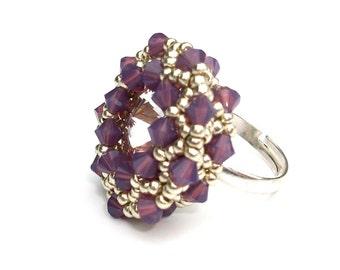 Ring Beaded Swarovski Purple Amethyst Opal Swarovski Crystal Silver Adjustable Ring Band