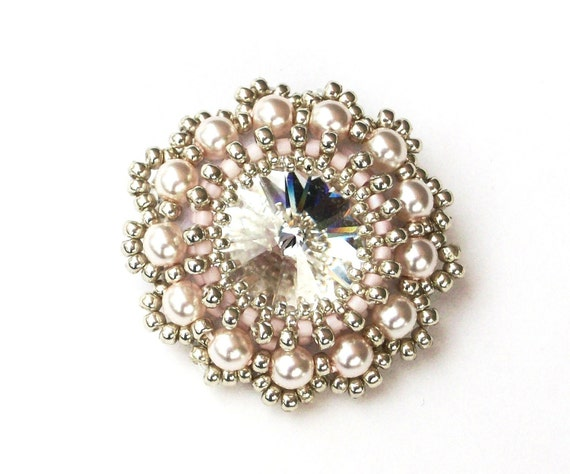 Brooch Beaded Swarovski Crystal Pearl Beaded Brooch Rose Pink Silver Handbeaded Brooch Dress Pin