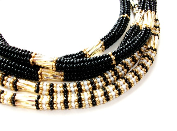 Necklace, Beaded Necklace Embellished Rope, Black Gold White Opal Beads