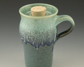 Travel Mug Pottery Mug fits in Cupholder with Cork in Pale and Dark Blues