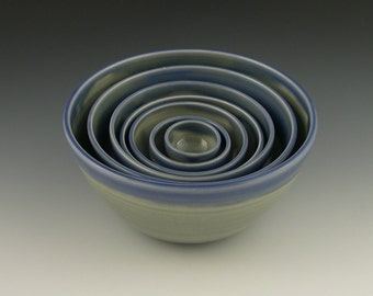 Nesting Bowl set of Seven in Blue and Grey