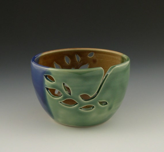 Yarn Bowl in Green Brown and Blue Leaf Pattern