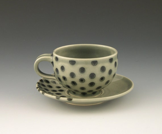 Teacup and Saucer in Polka Dots Grey and Black