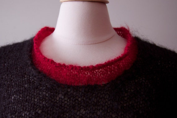 Black mohair hand knitted sweater