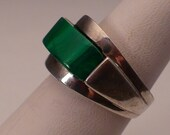 Brutalist Ring Modernist Sterling Silver Malachite Industria Argentina Antique Vintage Size 7
