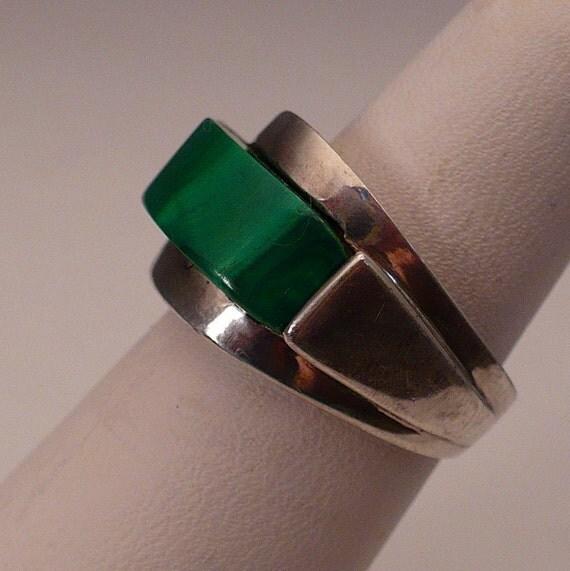 Brutalist Ring Modernist Sterling Silver Malachite Industria Argentina Antique Vintage Size 7