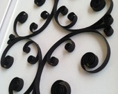 Paper Filigree Scroll Art.  Black and White.  Quilled.