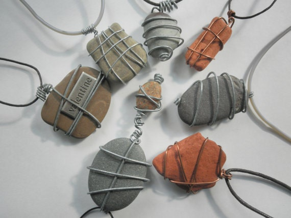 Customized Natural Lake Stone and Hand Stamped Necklaces