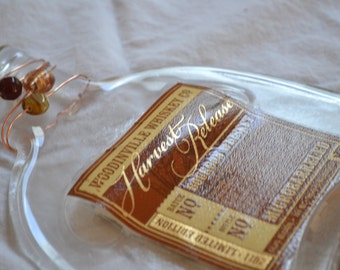 Whiskey Bottle Cheese/Appetizer Tray with beaded glass accents