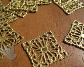 Brass Lace Filigree Findings,square, per 4 pieces, (B010)