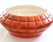 Beautiful Orange Vintage Ceramic Pottery Saucer Bowl Planter by Haeger