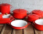 Amazing 13 Piece Set of Red Dansk Kobenstyle Enamelware Cookware