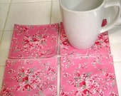 Set of four pink rose pattern cotten fabric coasters