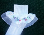Double layer Ribbon Ruffle Socks - Jesus Loves Me -  with many color options