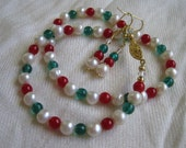 Christmas Pearl Necklace and Earring Set - 22k Gold