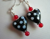 Black Polka Dot Heart Earrings with Red Accents - Silver