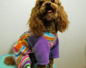 Fleece Multi Neon Color Psychedelic Swirl Dog Pajamas Long Johns Jumpsuit
