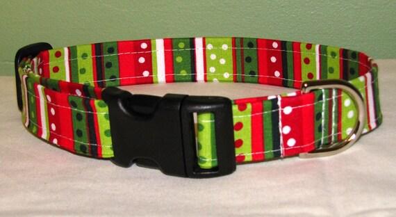 Christmas Stripe and Dots - Adjustable Dog Collar