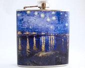 Hip Flask : Van Gogh Starry Night Over the Rhone, 6 oz Stainless Steel Flask - Velour Bag Included