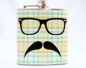 Plaid Mustache Flask - Hipster Glasses with Mustache, Green and Yellow Plaid, 6 oz Stainless Steel Flask, Velour Bag Included