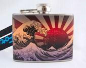 Liquor Flask Great Wave with Rising Sun by Katsushika Hokusai 4 oz Stainless Steel Flask Orange and Purple