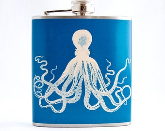 Octopus Flask - Deep Blue and Beige, 6 oz Stainless Steel Flask, Velour Bag Included