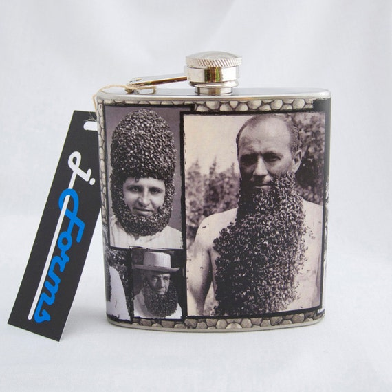 Funny Mens Flask : Bee Beards, 6 oz Stainless Steel Flask, Velour Bag Included