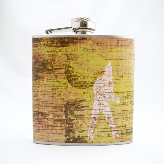 Hip Flask : Tin Man, 6 oz Stainless Steel Flask, Green with Wood, Velour Bag Included
