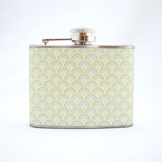 Retro Flask : Art Deco Pattern, 4 oz Stainless Steel Flask, Green, Velour Bag Included