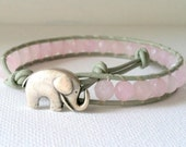 Elephant Leather Wrap Bracelet, Good Luck Charm, Dyed Pink Jade  Wrap Bracelet, Chan Luu Style, Elephant Button