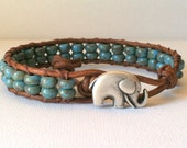 CHRISTMAS SALE  Elephant Leather Wrap Bracelet -  Good Luck Elephant Button - Blue Picasso Czech Glass Seed Beads