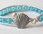 Seashell bracelet, Aquamarine Czech Glass Leather Wrap Bracelet