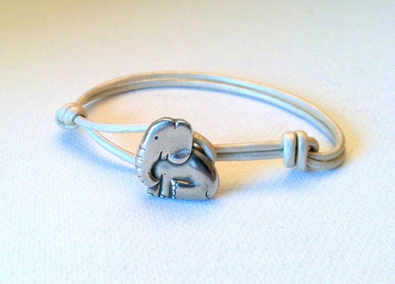 Baby Elephant Leather Bracelet - Available in 7 colors-  Genuine Danforth Pewter